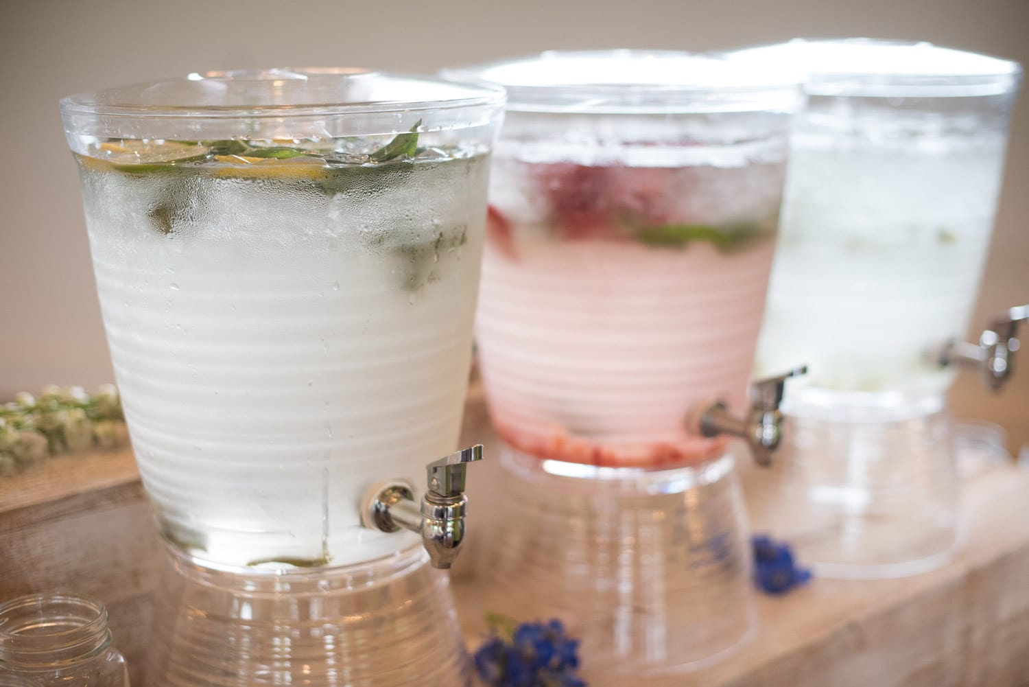 Three water jugs with tap
