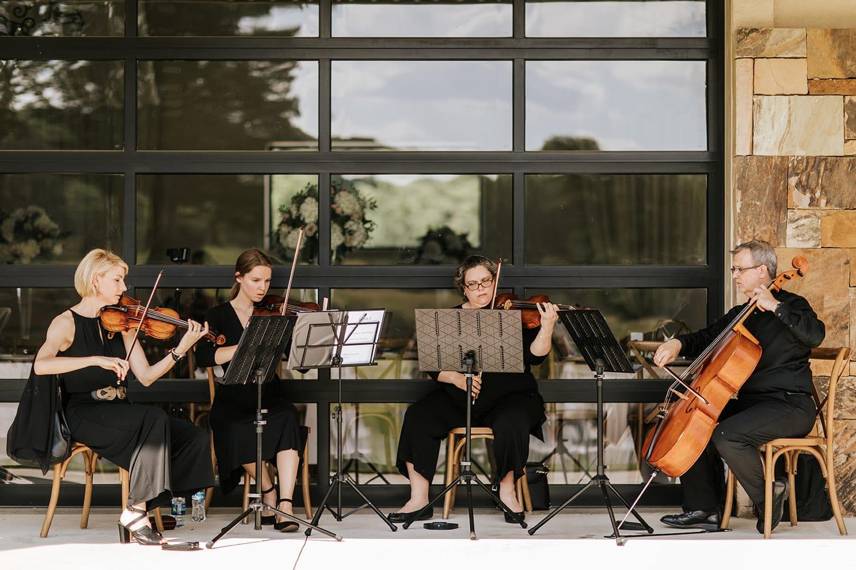 String quartet on patio