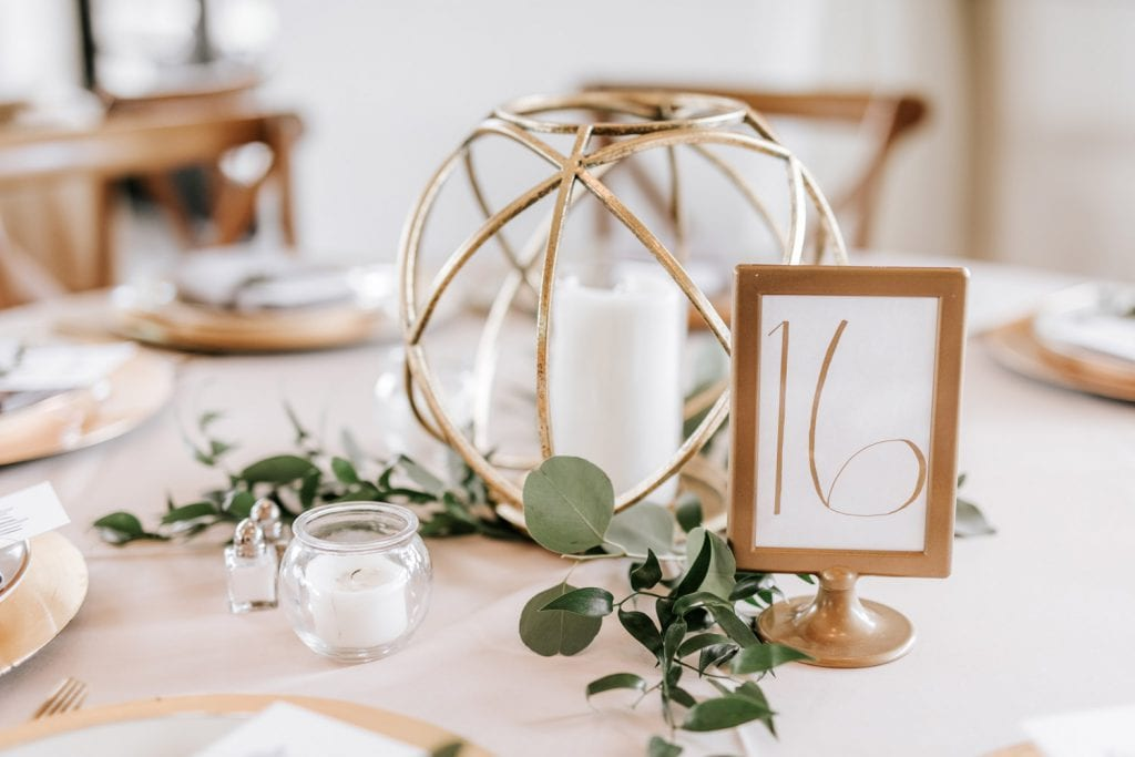 Table number with candle and decorations