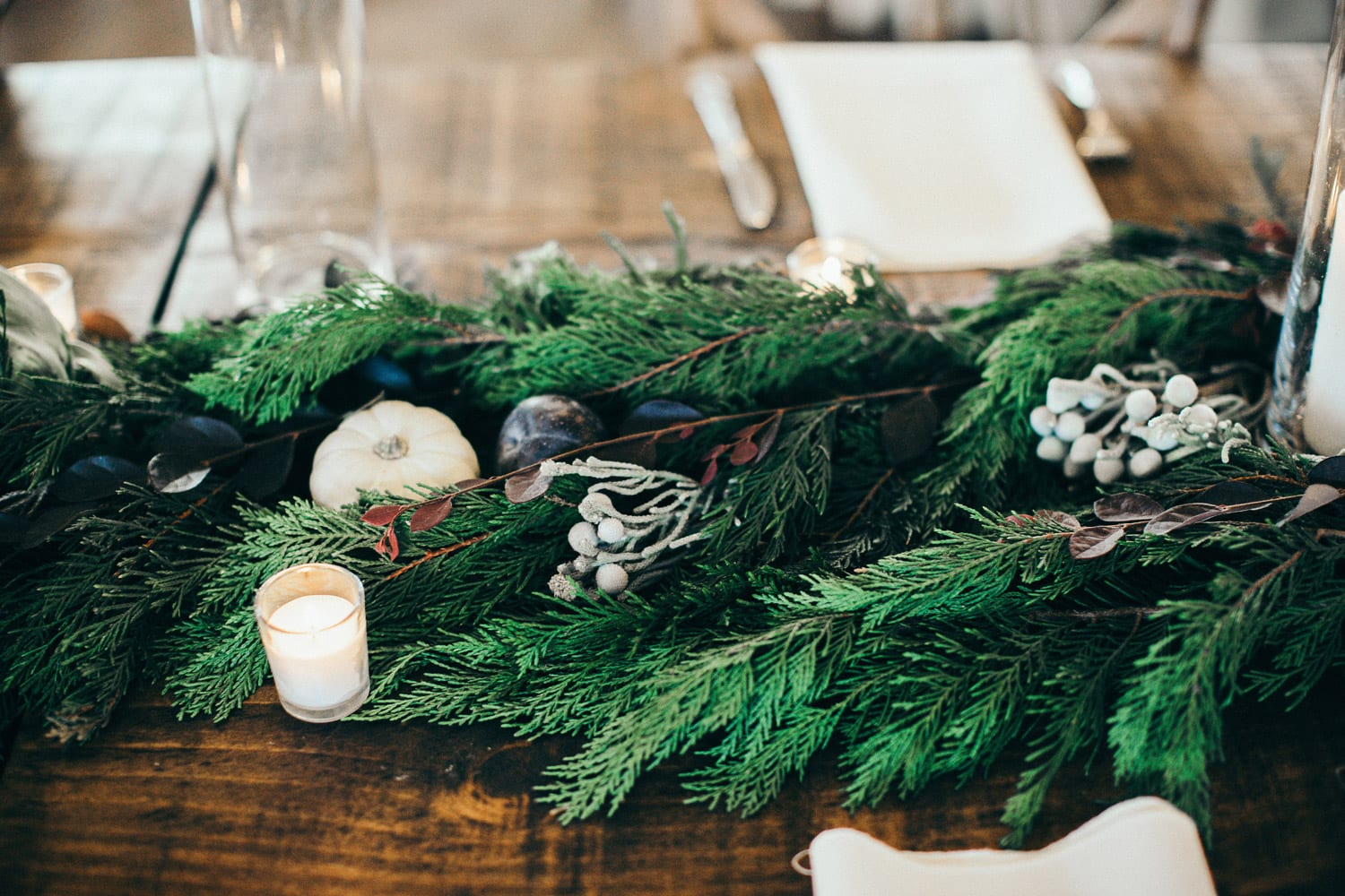 Estate table with greenery