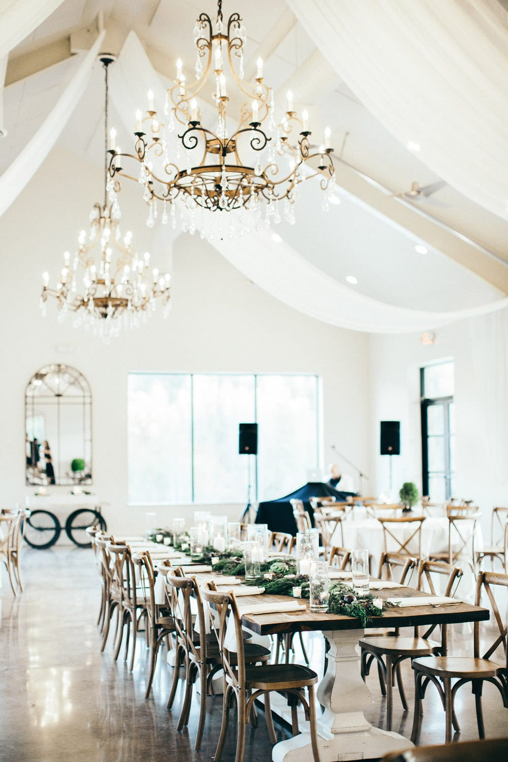 Reception hall with chandeliers