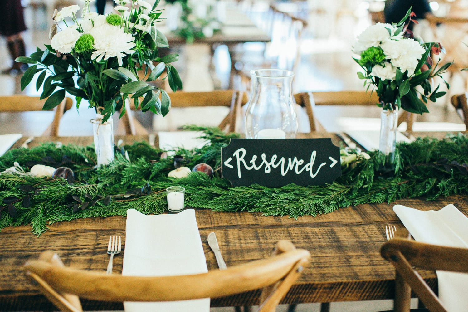 Reserved sign on dinner table