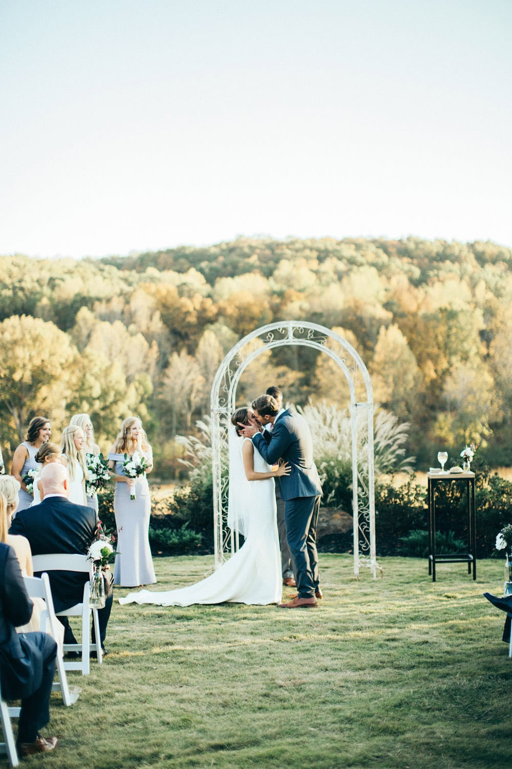 Bride and groom share first kiss during ceremony