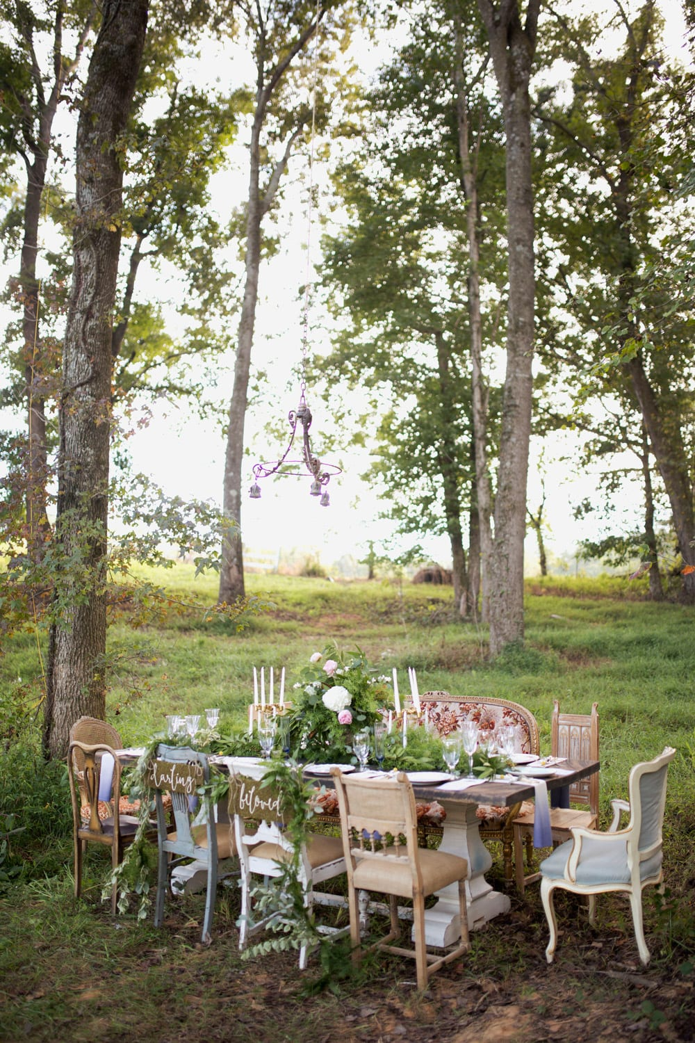 Dinner table set in the woods