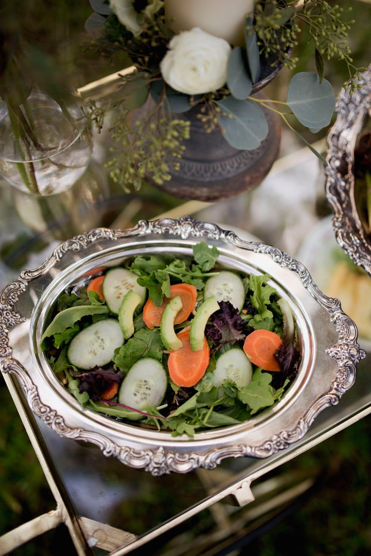 Salad on glass cart