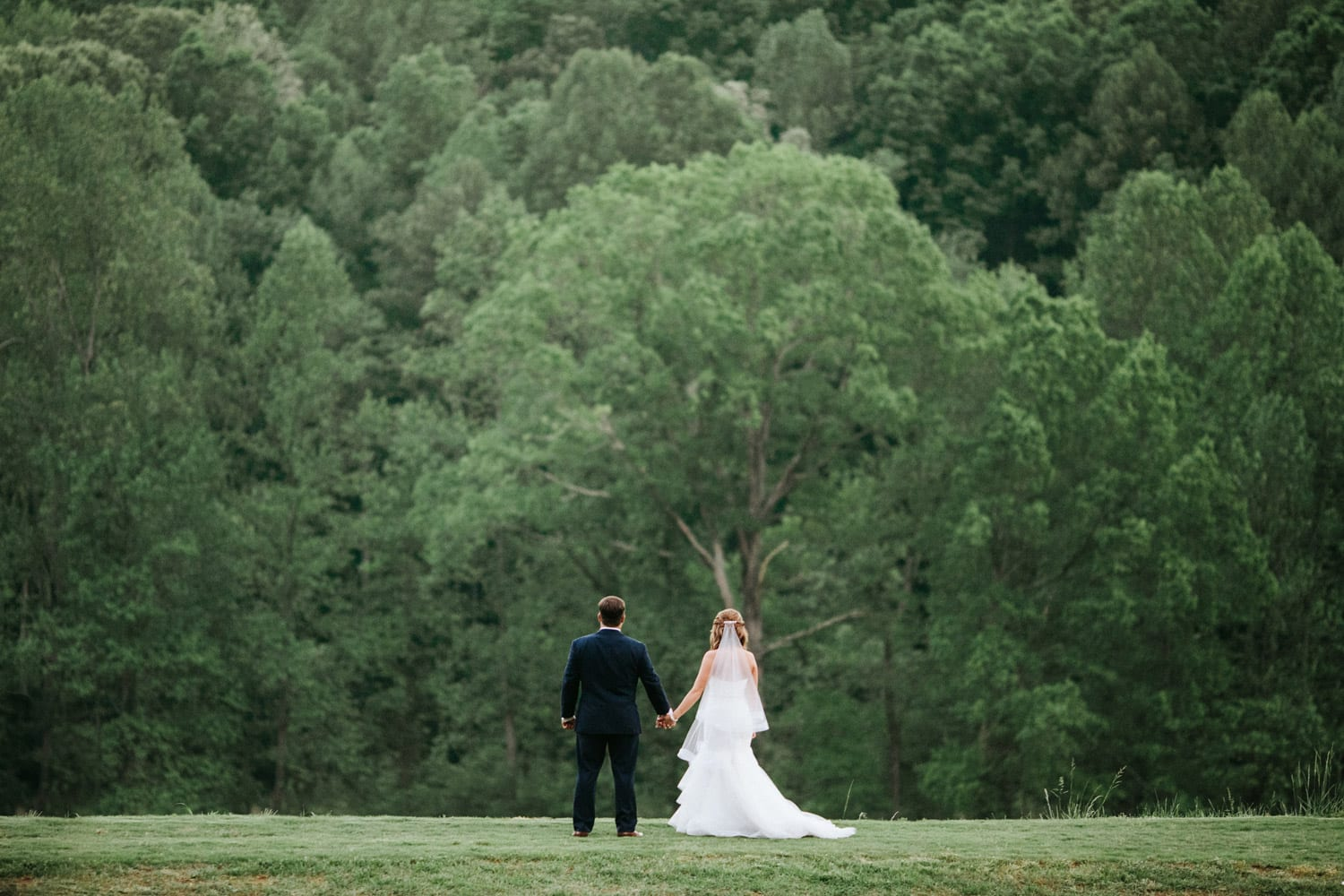 Bride and groom hold hands in front of woods