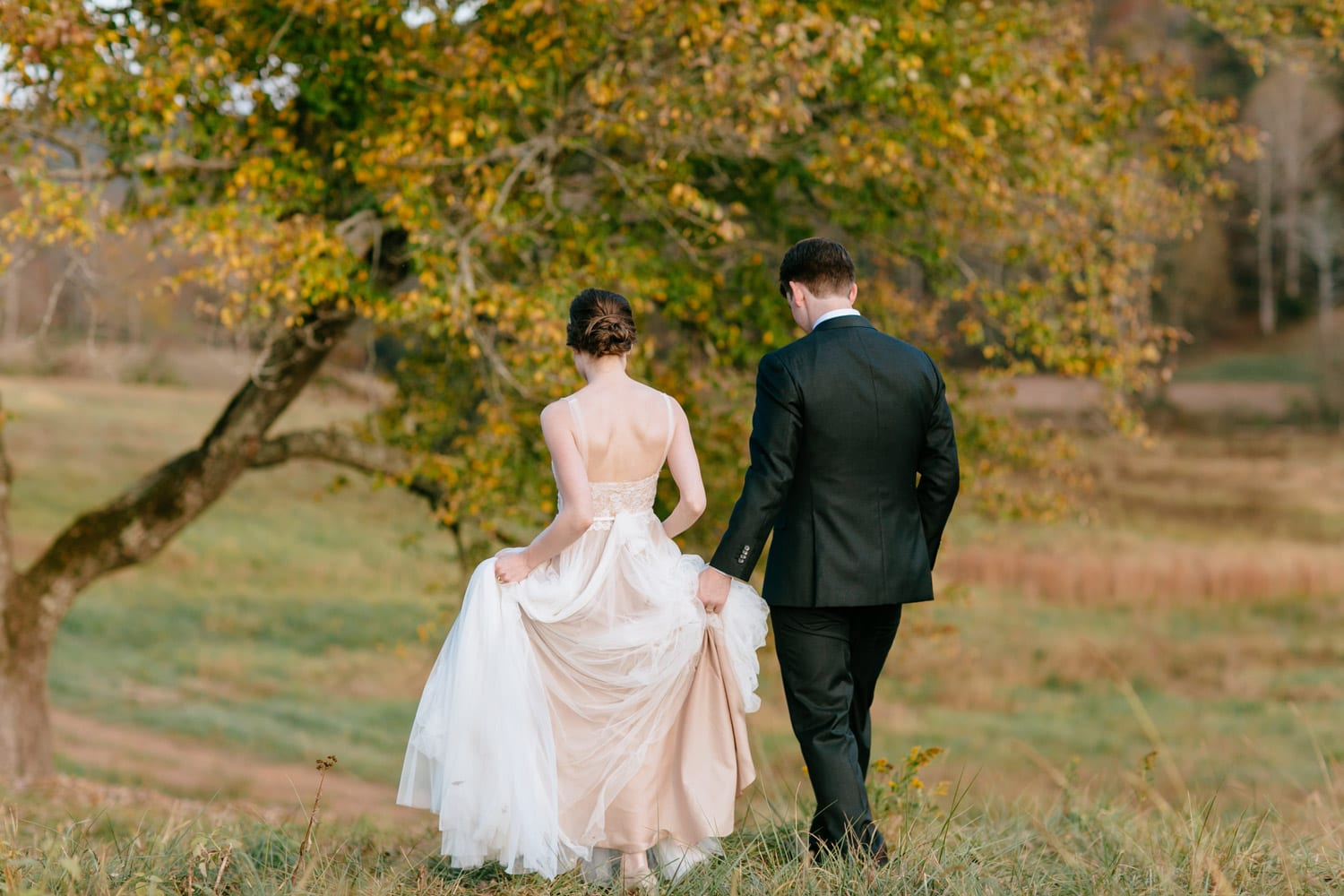 Bride and groom walk through pasture