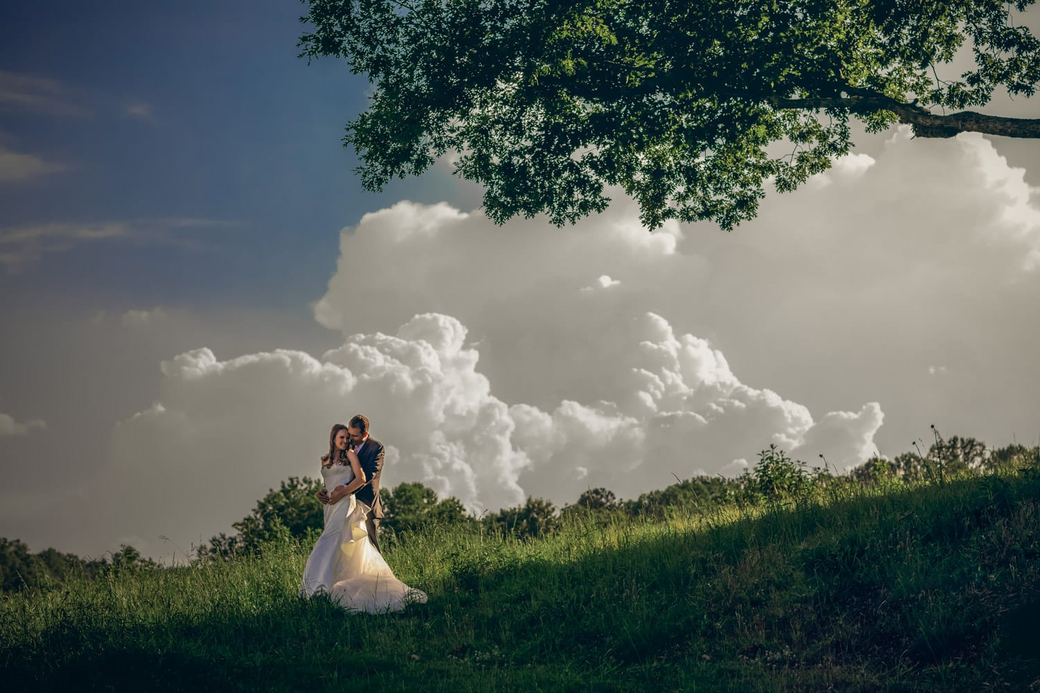 Groom holds bride in the pasture against blue sky