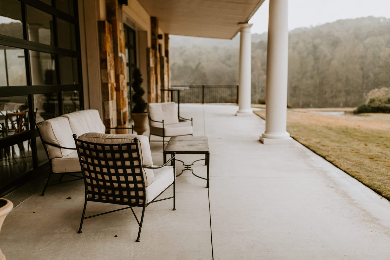 The porch at The Gardens during the rain