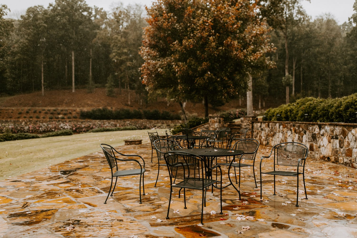 Stone patio during an autumn rain