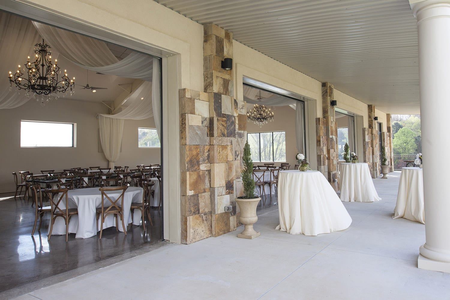 Reception hall porch with open doors