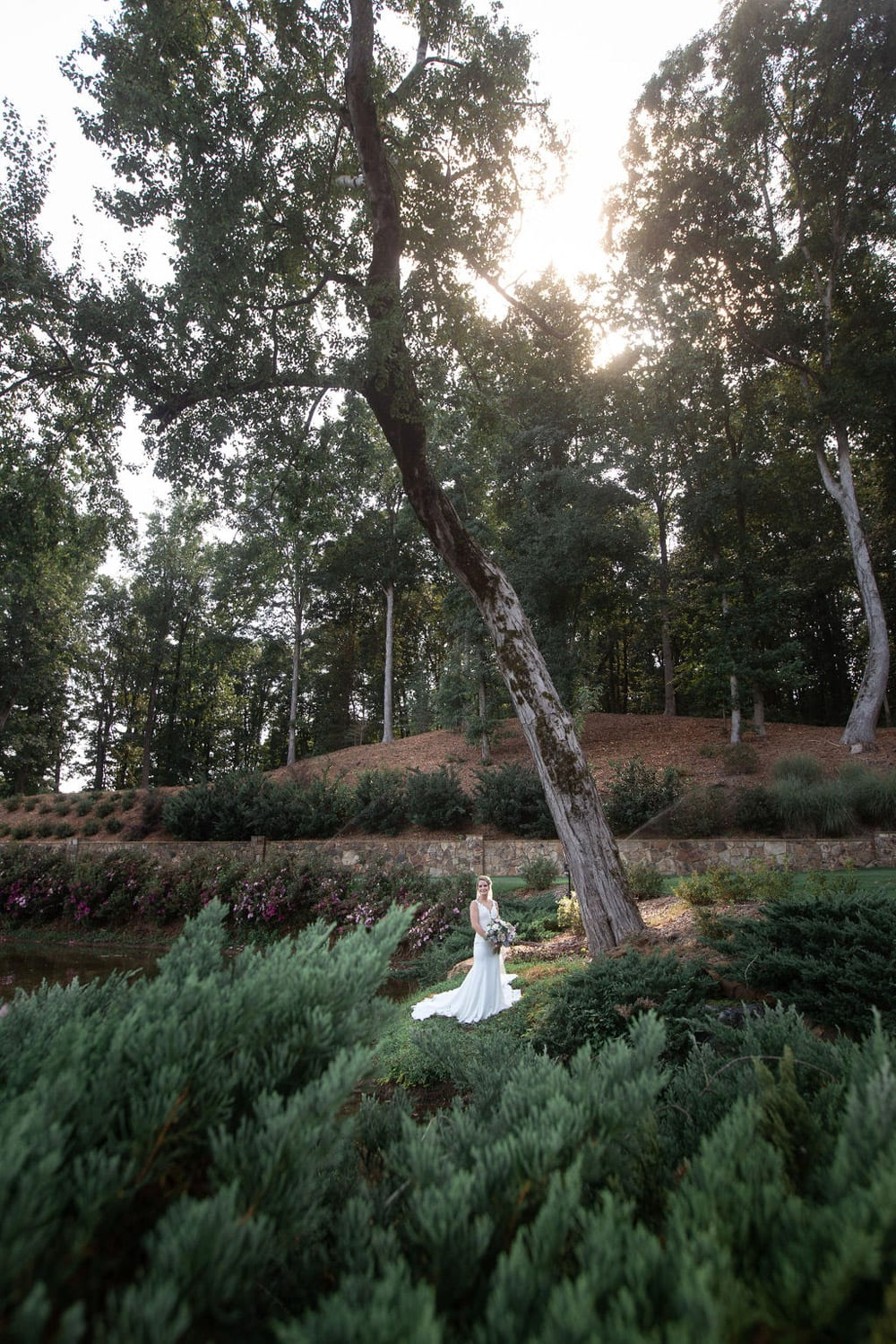 Bride stands by tree with flowers under sunlight