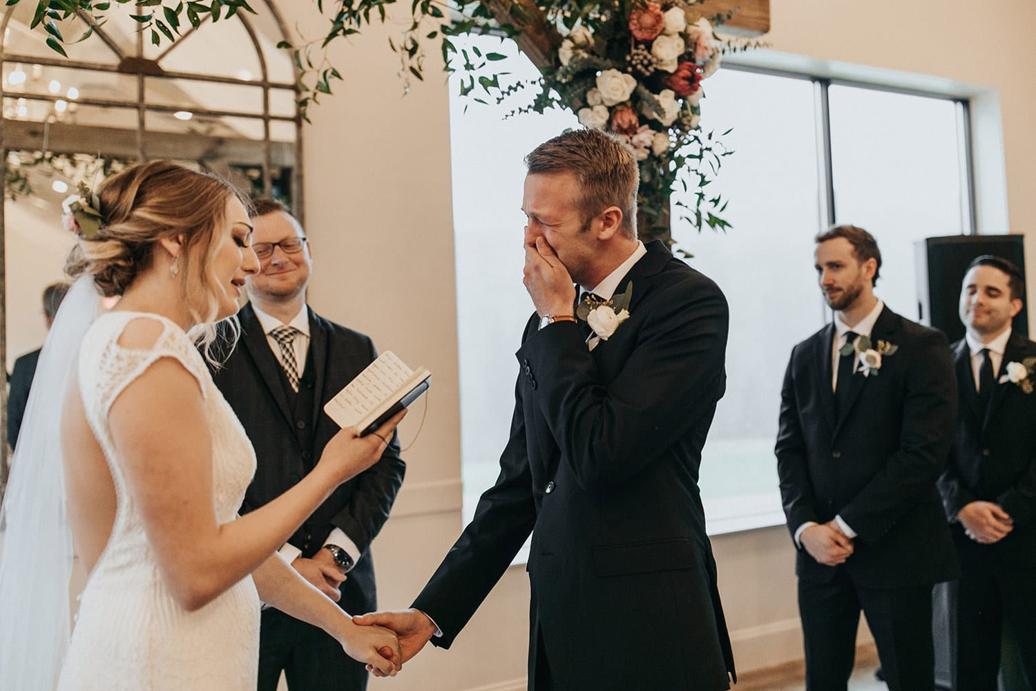 Groom tears up during ceremony as bride reads love letter